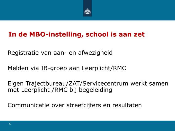 In de MBO-instelling, school is aan zet