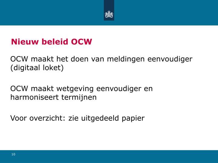 Nieuw beleid OCW
