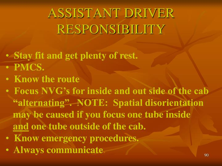 ASSISTANT DRIVER RESPONSIBILITY