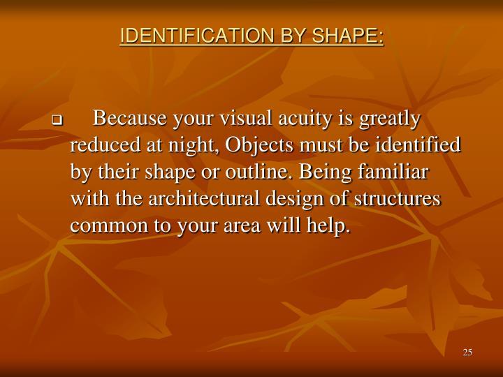 IDENTIFICATION BY SHAPE: