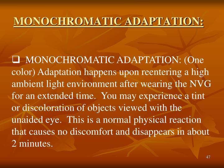 MONOCHROMATIC ADAPTATION: