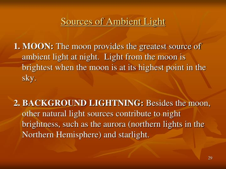 Sources of Ambient Light