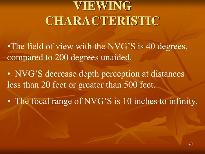 VIEWING CHARACTERISTIC