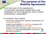 the purpose of the mobility agreement