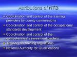 attributions of ntb