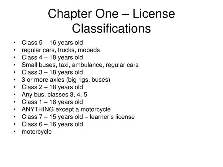 Chapter one license classifications