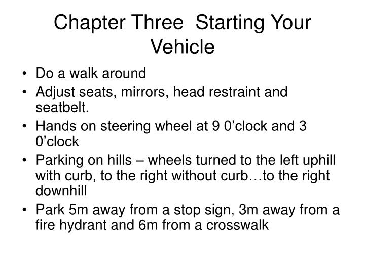 Chapter Three  Starting Your Vehicle