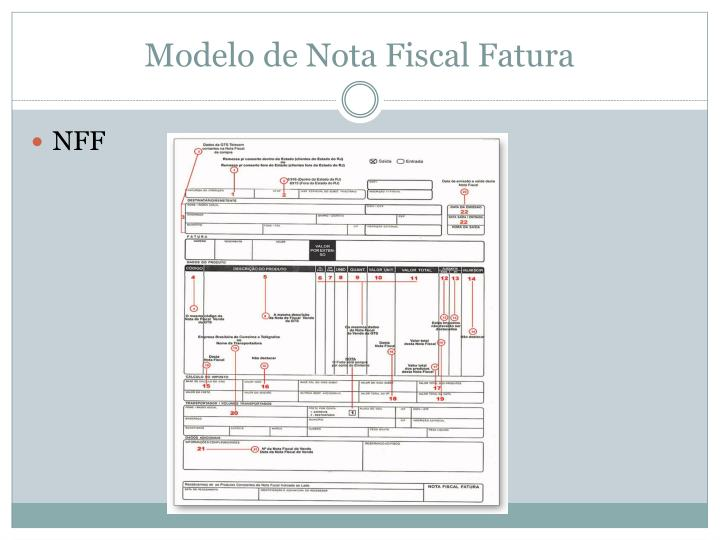 Modelo de Nota Fiscal Fatura