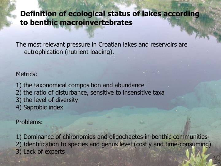 Definition of ecological status of lakes according to benthic macroinvertebrates