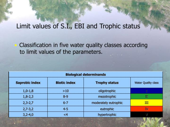 Limit values of S.I., EBI and Trophic status