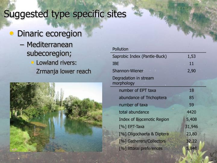 Suggested type specific sites