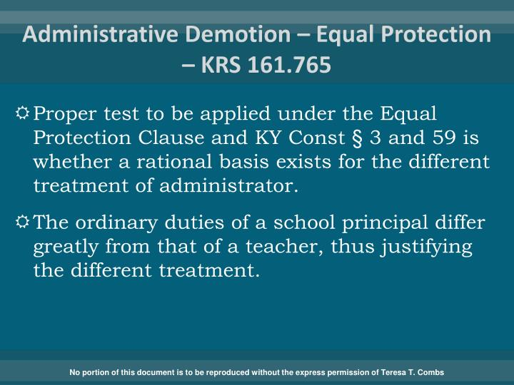 Administrative Demotion – Equal Protection –