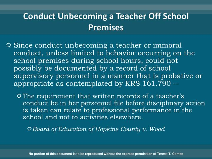 Conduct Unbecoming a Teacher Off School Premises