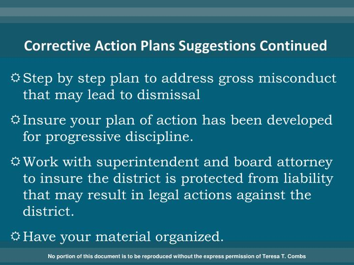 Corrective Action Plans Suggestions Continued