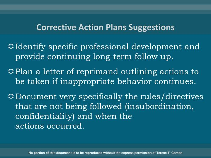 Corrective Action Plans Suggestions