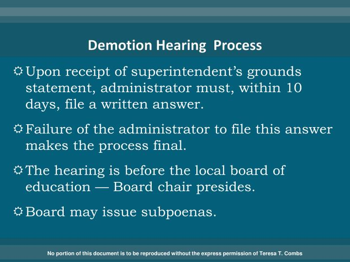 Demotion Hearing  Process