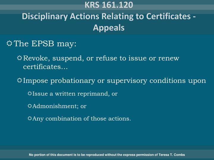 Krs 161 120 disciplinary actions relating to certificates appeals