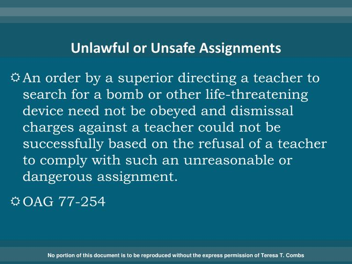 Unlawful or Unsafe Assignments