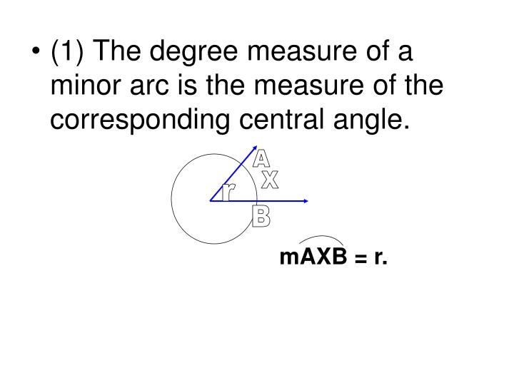 (1) The degree measure of a minor arc is the measure of the corresponding central angle.