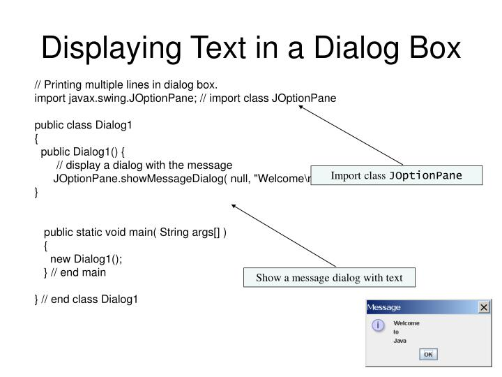Displaying text in a dialog box1