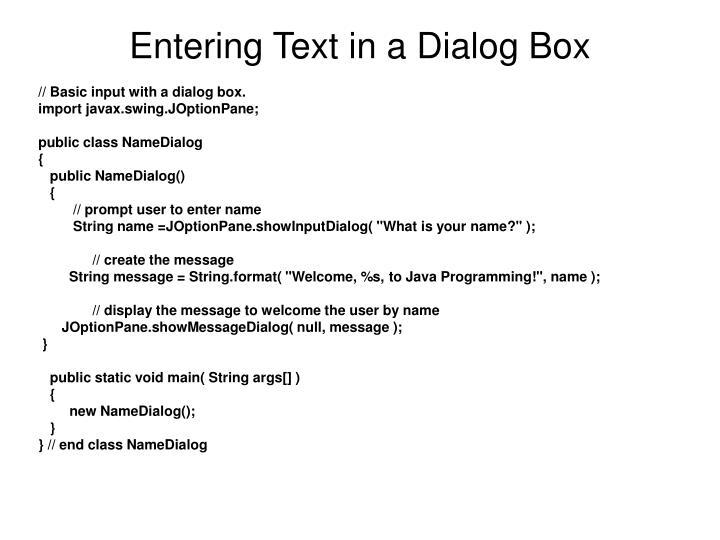 Entering Text in a Dialog Box
