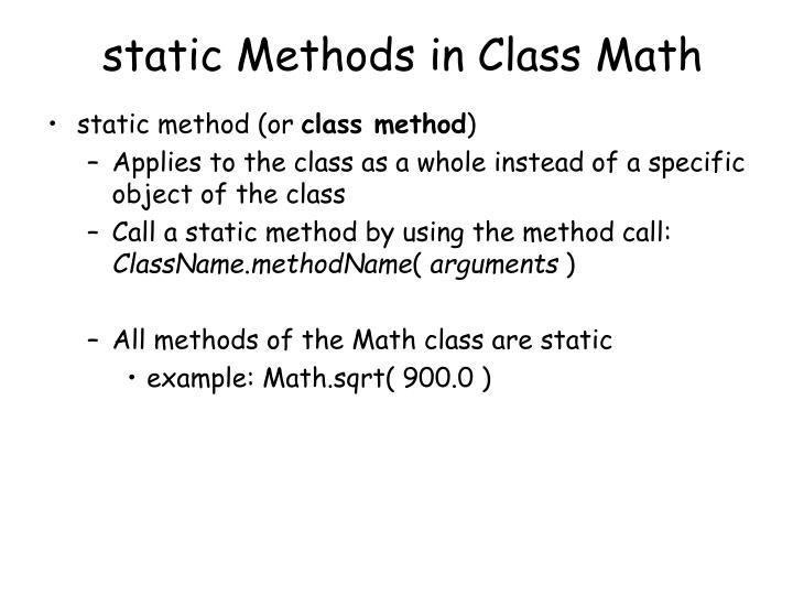 static Methods in Class Math