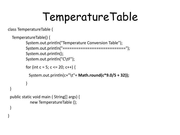 TemperatureTable