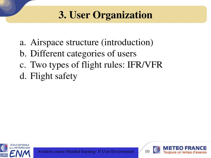 3. User Organization