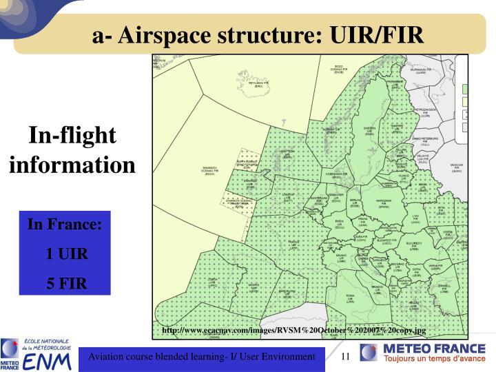a- Airspace structure: UIR/FIR
