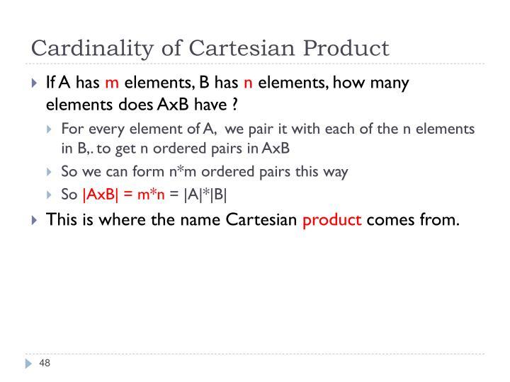 Cardinality of Cartesian Product