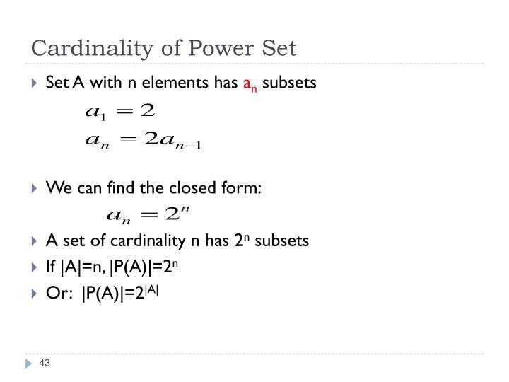 Cardinality of Power Set