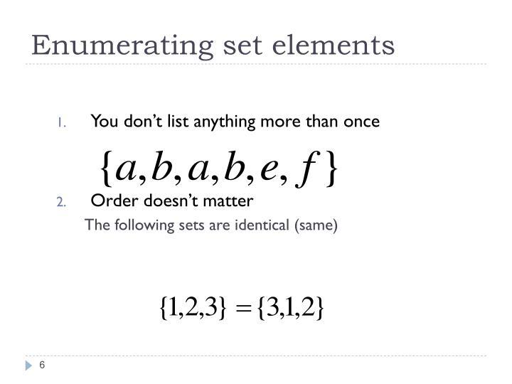 Enumerating set elements