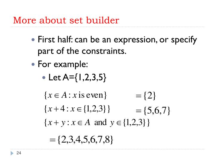 More about set builder