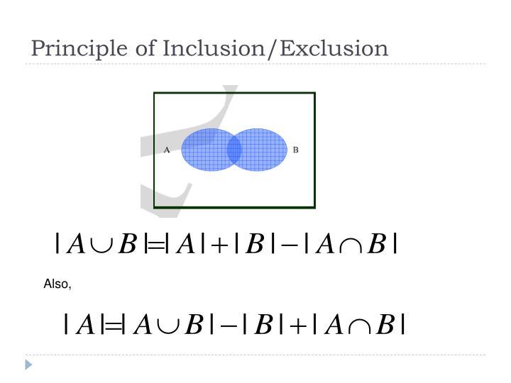 Principle of Inclusion/Exclusion