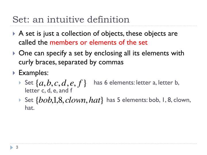 Set an intuitive definition