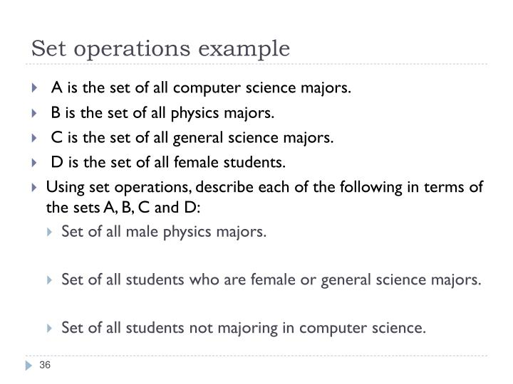 Set operations example