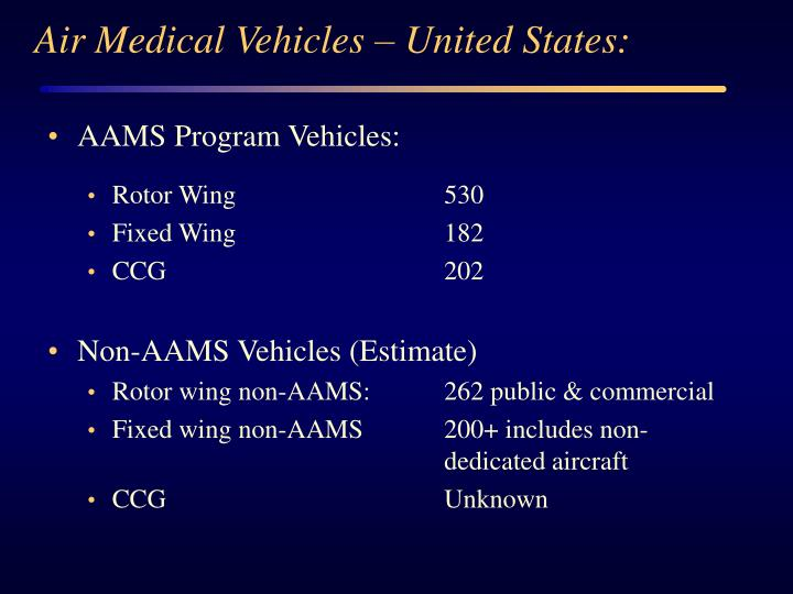 Air Medical Vehicles – United States: