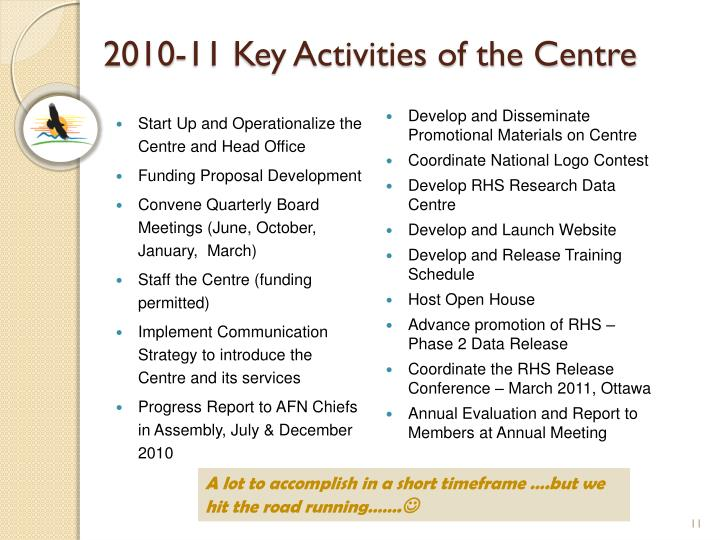 2010-11 Key Activities of the Centre