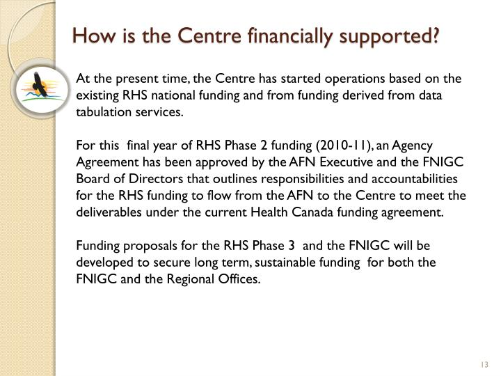 How is the Centre financially supported?