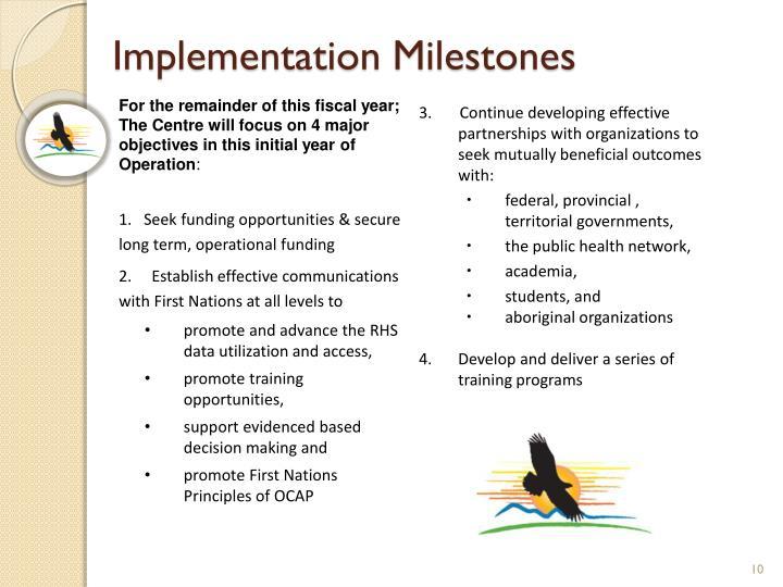 Implementation Milestones