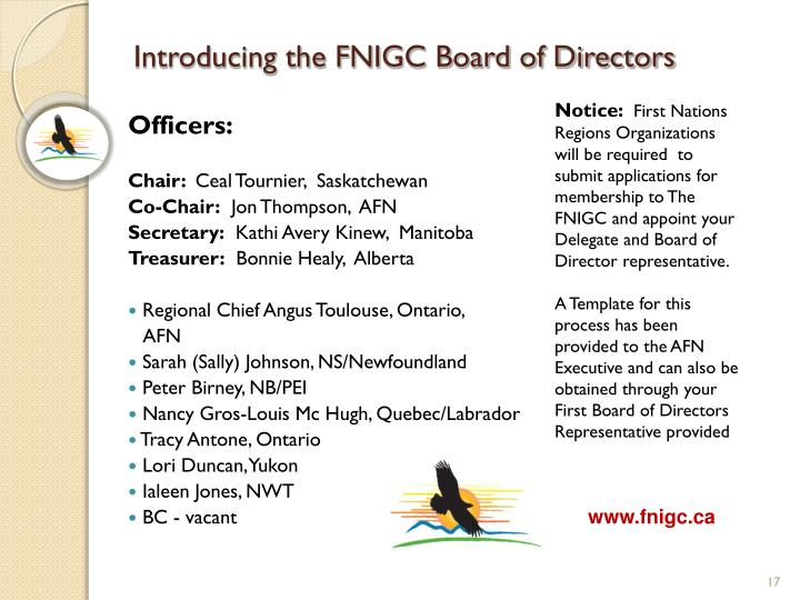 Introducing the FNIGC Board of Directors