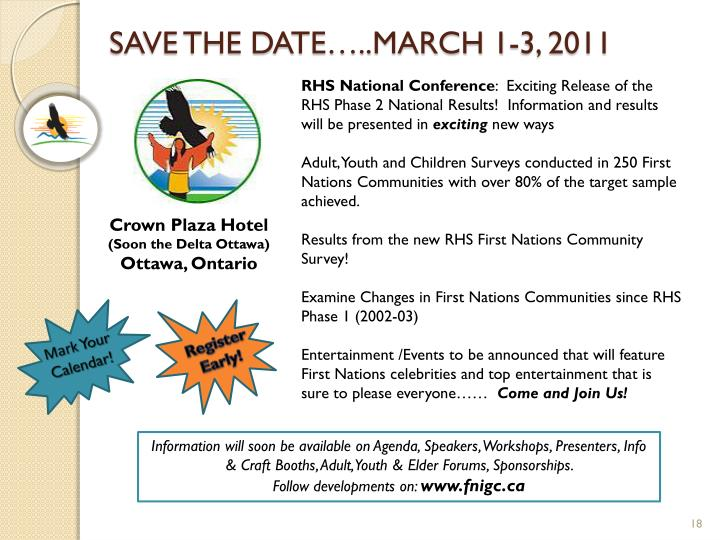 SAVE THE DATE…..MARCH 1-3, 2011