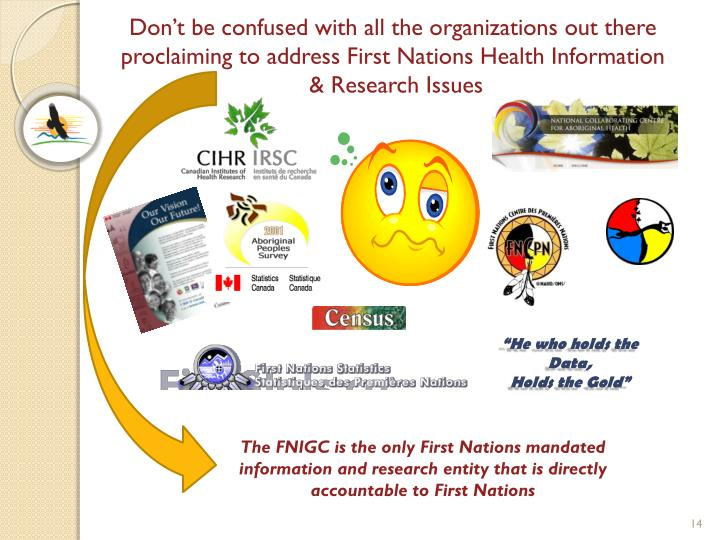 Don't be confused with all the organizations out there proclaiming to address First Nations Health Information