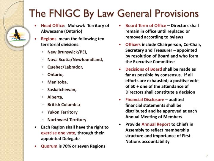 The FNIGC By Law General Provisions