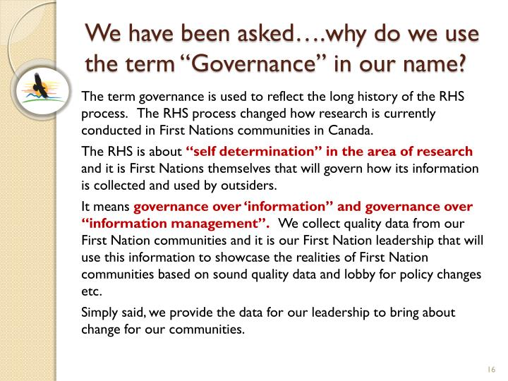 """We have been asked….why do we use the term """"Governance"""" in our name?"""