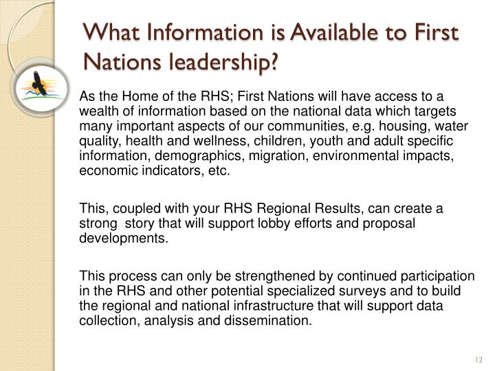 What Information is Available to First Nations leadership?