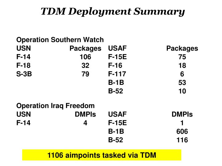 TDM Deployment Summary