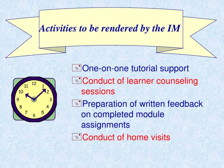 Activities to be rendered by the IM