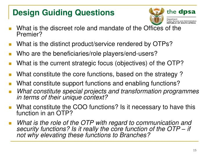 Design Guiding Questions