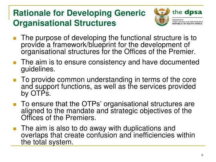 Rationale for Developing Generic Organisational Structures